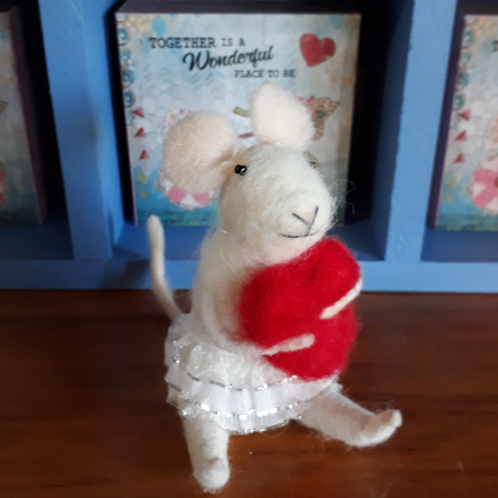 Limited Edition: Valentine's Day Girl Mouse with a heart ~ sitting ornament ~ Set of 4