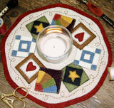 """Quilt Block"" candle mat Pattern by Bareroots"