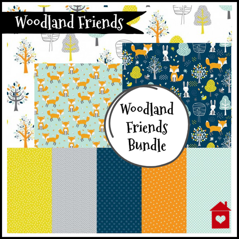 Woodland Friends ~ Bundle of 4 fabric designs