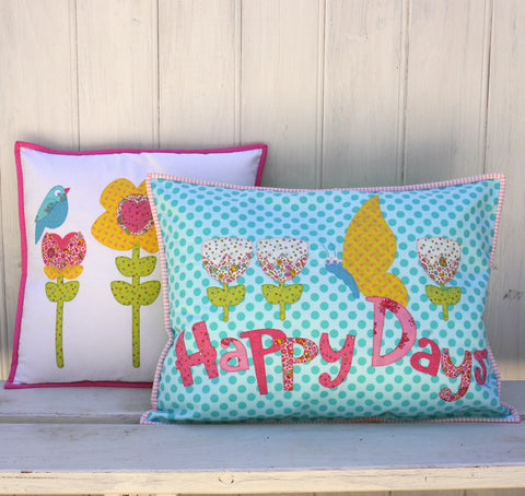 """Happy Days"" ~ Cushion pattern by Claire Turpin"