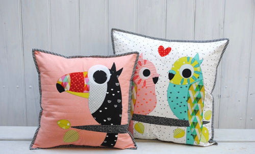 Applique bird cushions with pom poms free sewing patterns sew