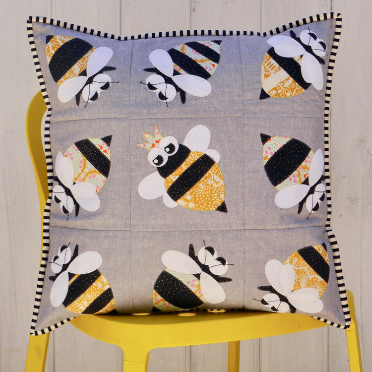"""Queen Bee"" ~ Cushion pattern by Claire Turpin"