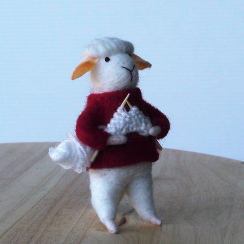 Devon Knitting Sheep~ standing ornament