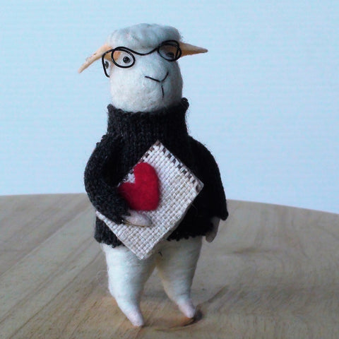 Miles Bookworm Sheep~ standing ornament
