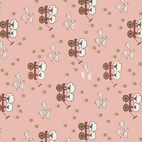 Willowbrook Market Garden ~ Sheep Light/dark pink ~ by Natalie Bird