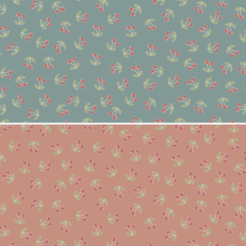Heartstrings ~ The Birdhouse ~ DV3276 floral blue/faded red cherries