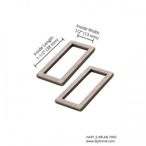 "Rectangle Ring Flat (1.5"") 2pk  - byannie"