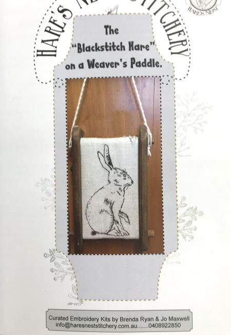 Hare's Nest Stitchery ~Blackstitch Hare~Kit & Pattern
