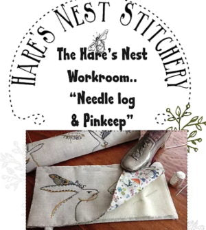 Hare's Nest Stitchery  ~ Workroom log and Pinkeep~ Pattern & Kit