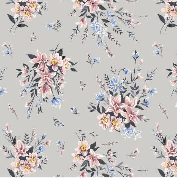 Liberty ~ The Winterbourne Collection~Bouquet Lyric Grey~fat quarter
