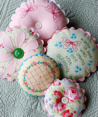 Sarah's Pincushions with stitcheries - Leanne Beasley
