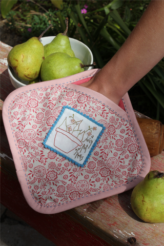 Hatched & Patched ~ The Pear Pot holder~ pattern