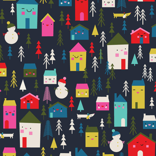 Merry & Bright~Village on dark blue~ D1494~ Dashwood Studio
