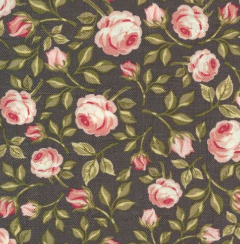 Poppie Cotton ~Gingham Farmhouse~ Vintage Roses~ Navy