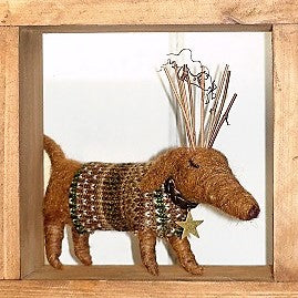 """Alfie"" Christmas Dog~ standing or hanging ornament"