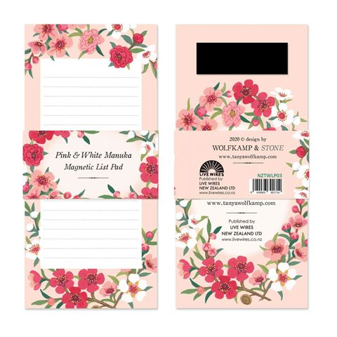 Pink & White Manuka~Magnetic List Pad
