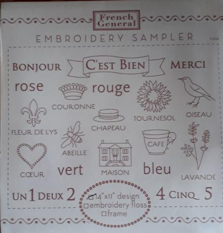 Bonjour Embroidery Sampler French General Millymac Supplies
