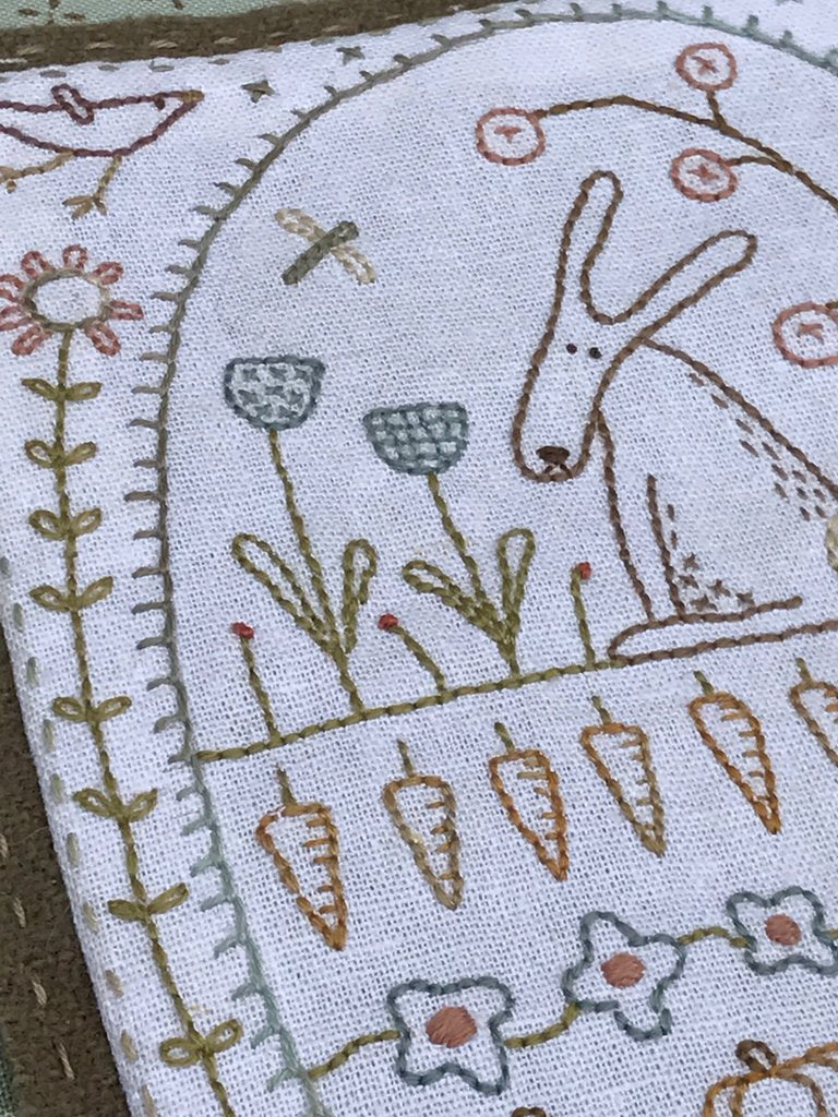 Hatched & Patched ~Rabbit in the Veggie Patch~ needlebook pattern