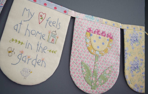 """Sunny Days"" Bunting Flags Stitchery Panel ~ The Birdhouse"