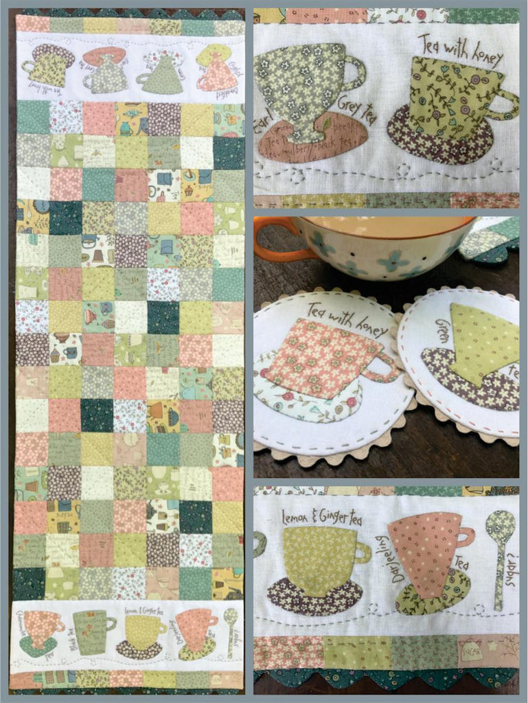 Hatched & Patched ~ Tea Time Table Runner & Mug Rugs~ pattern