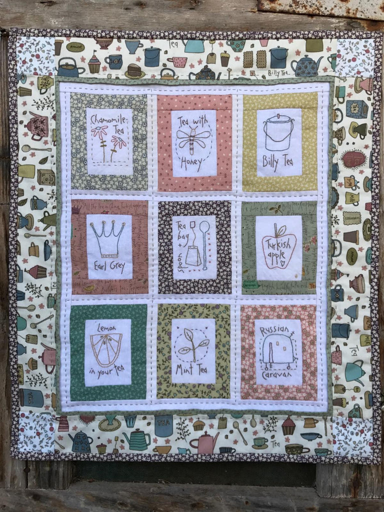 Hatched & Patched ~For the Love of Tea Wall Hanging~ pattern