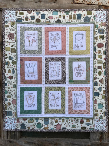 Hatched & Patched ~For the Love of Tea Wall Hanging~ pattern/kit