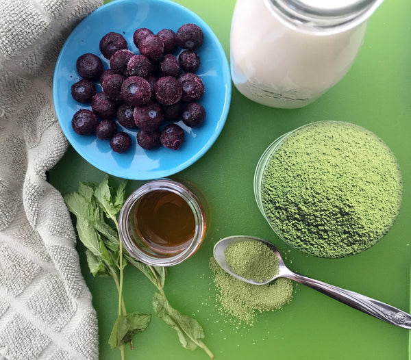 Blended Blueberry Mint Matcha Ingredients