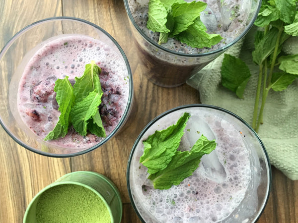 Full Leaf Blended Blueberry Mint Matcha Drinks