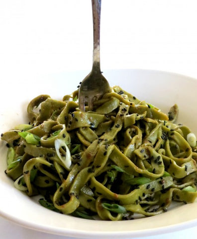 Cooked Matcha Pasta with Fork