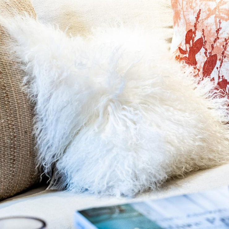 Tibetan Fur Cushion - Small - White