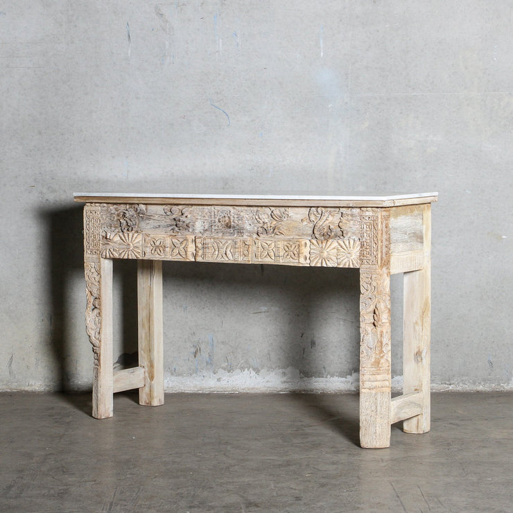 IFU0321-52 Vintage Indian Console with Marble Top