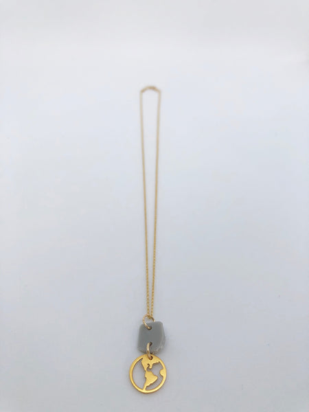 ADRIFT Ocean Plastic Charm Necklace - Earth Charm