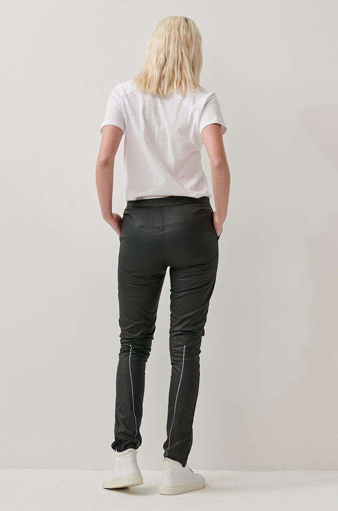 BLACK DENIM BIKER JEANS