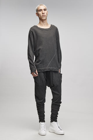 MENS SCAR CREW JUMPER - GREY WASH