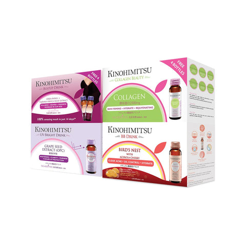 Bundle of 4: Collagen Beauty / BB Drink / BustUp Drink / UV-Bright 10's x 4
