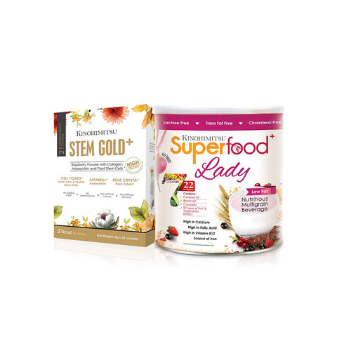 Rose Glow Set: Stem Gold⁺ 30's + Superfood⁺ Lady 500g