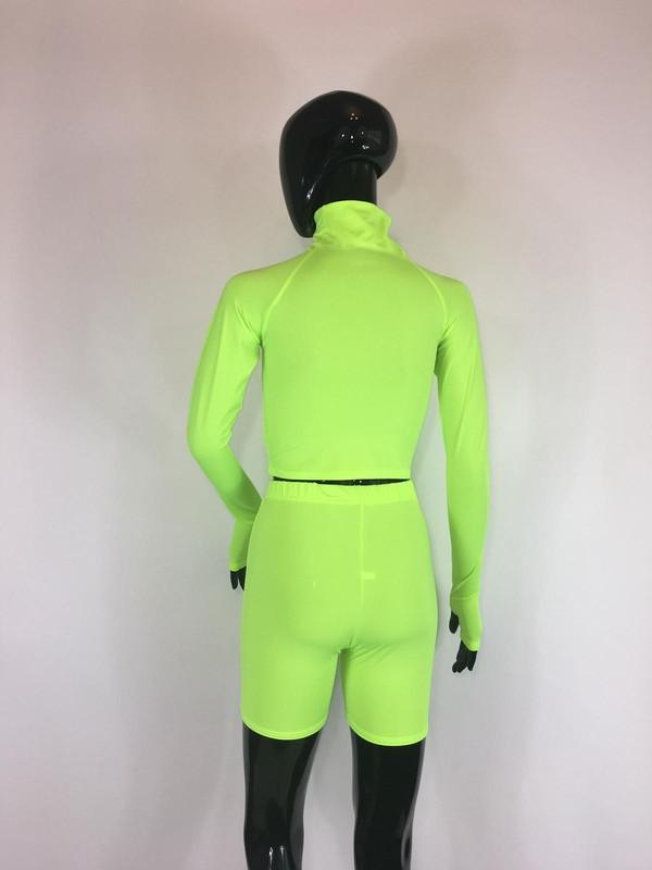 Two Piece Biker Shorts Set Neon Green Clothing