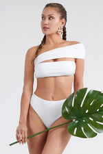 One Cross Shoulder Ribbed Two Piece Bikini Set