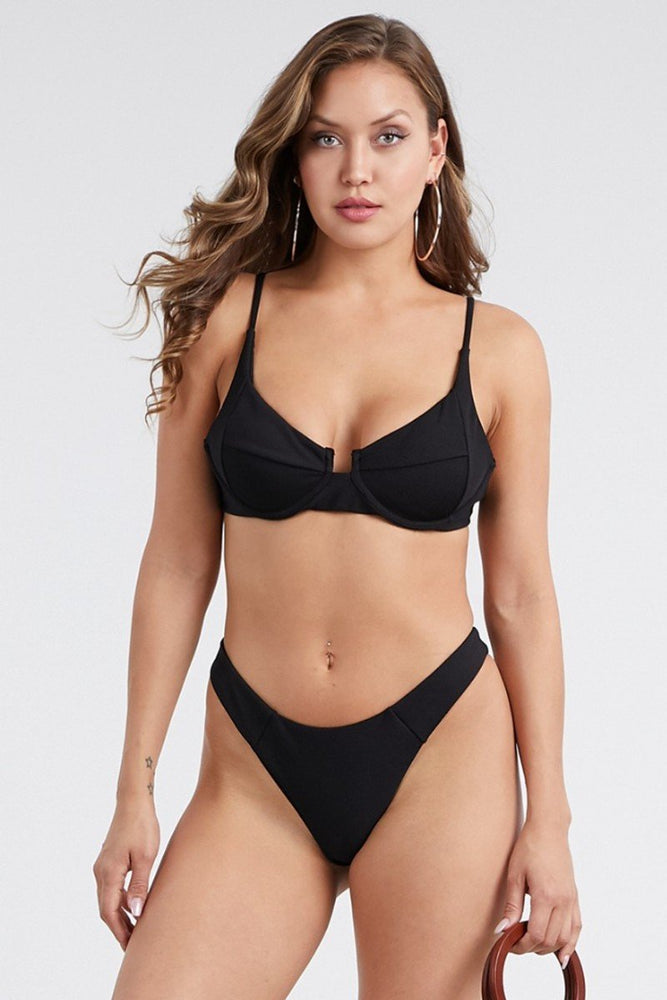 Black Underwire Ribbed Material Bikini Set Swimwear