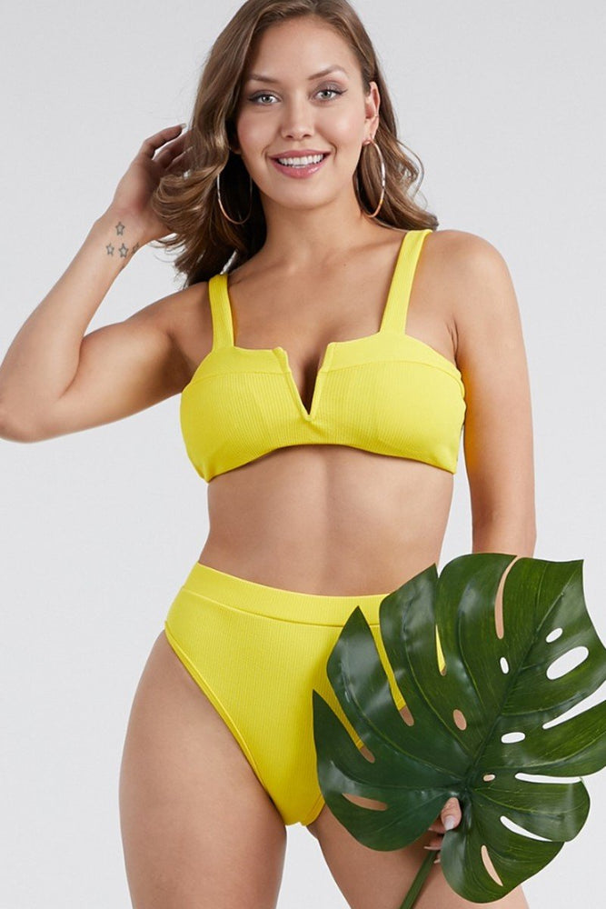 Two Piece Bikini Swimwear Set Yellow