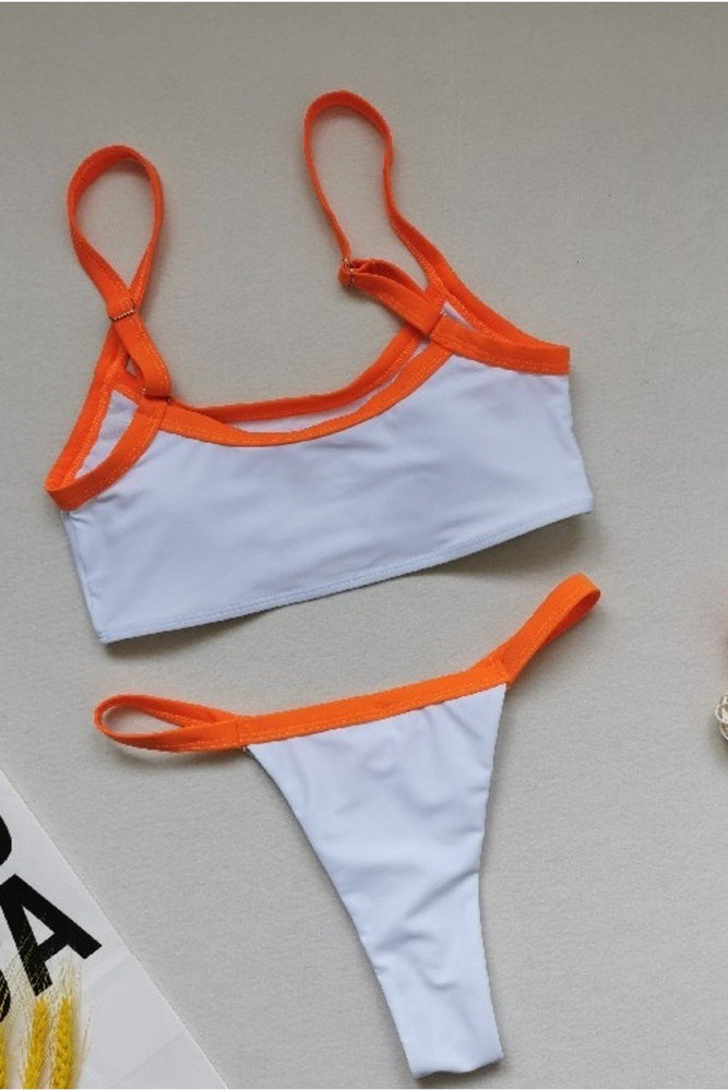 Orange Straps White Two Piece Bikini Set
