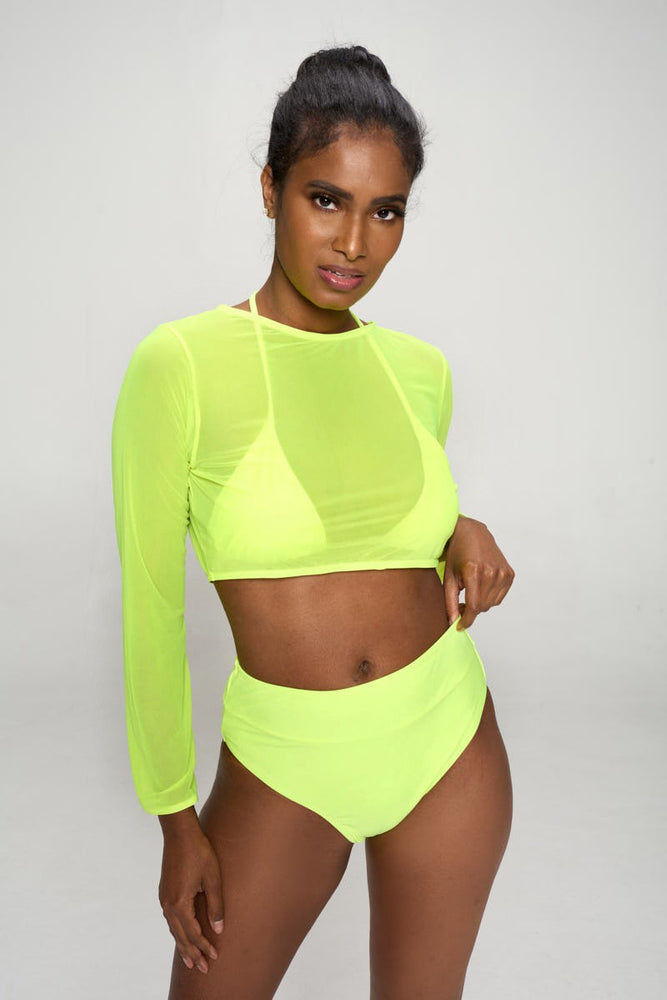 Neon Green Two Piece Bikini Set with Cover Top