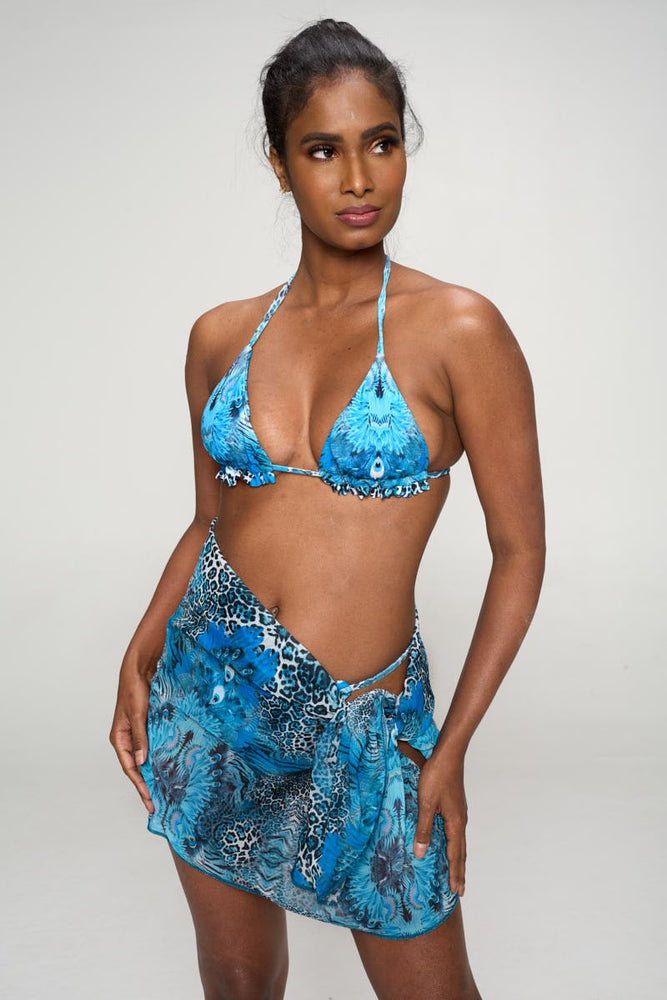 Blue Animal Print Two Piece Bikini Set with Cover up