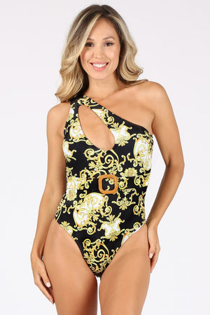 Load image into Gallery viewer, Regal Print Mono sleeve Swimsuit