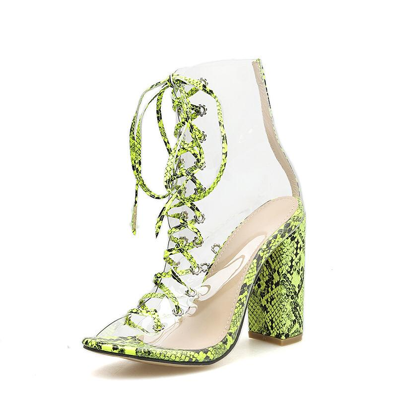 Neon Green Animal Print Transparent Strappy Heels
