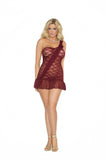 Lace babydoll with one shoulder, chiffon sash and hem