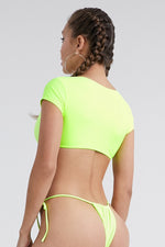 Sexy Fresh Padded Solid Color Short-Sleeve V-Neck Two-Piece Swimwear Wholesale Swimsuit