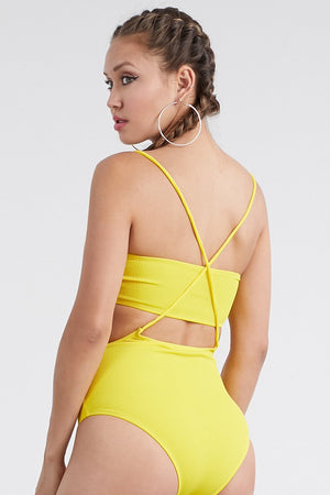 Yellow Overall Tube Top Two Piece Swimsuit Swimwear