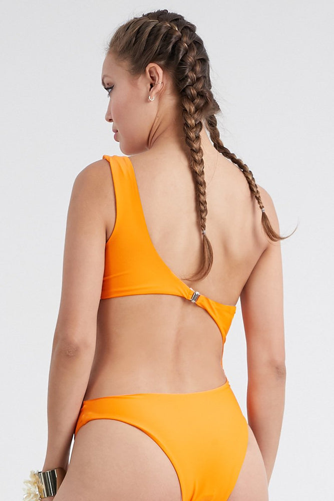 One Shoulder Side Cut Swimsuit Orange Swimwear