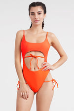 Orange Lace Up Padded Stylish One-Piece Swimsuit